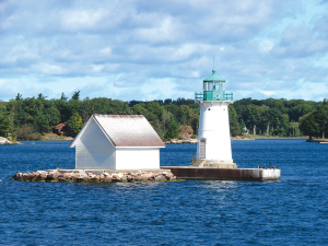 The Sunken Rock Lighthouse along St. Lawrence River can be viewed from downtown Alexandria Bay.