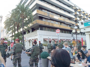 Soldiers patrol the streets of Nice after the July 14 attack.
