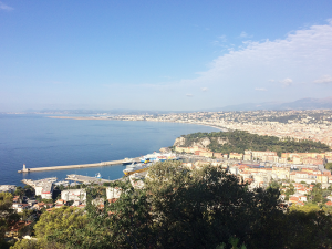 A view of Nice and its harbor from the surrounding hills.