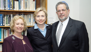 Rhea and Rabbi Daniel Jezer with former presidential candidate Hillary Clinton. The couple is very close to Hillary.