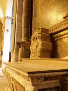 Bill found an earlier altar hidden behind the modern one. It is flanked by lists of local boys killed in World War I.
