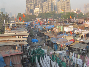 Outdoor laundry in Mumbai, the capital city of the Indian state of Maharashtra. It is the most populous city in India