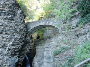 The Glen at Watkins Glen State Park is a two-mile gorge   that descends 400 feet past 200-foot cliffs.