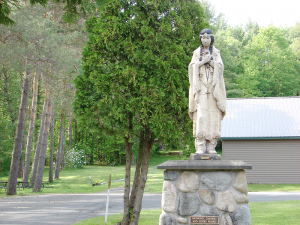 Visitors to the National Kateri Shrine in Fonda will see a statue of Kateri Tekakwitha, a young Mohawk woman born in 1656 who is the first Native American woman to be honored with sainthood.