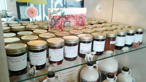 A variety of jams grace the shelves at Our Lady of Victory Farm Co-op Store.