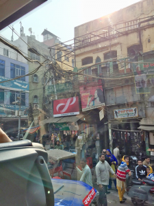 "Old Delhi with wires running from building to building. ""It was scary to see hundreds of electric wires crossing over streets and going from building to building,"" says Pinsky."