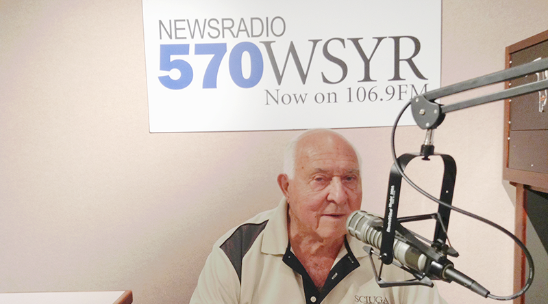 Sal Sciuga Sr., 84, is on the air during the Home Repair Workshop, a radio show in Syracuse that he's co-hosted since 1993.