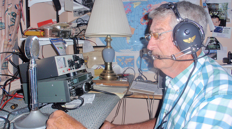 "Bob LaMay, W2AFF, talking to a ham in Ireland. He has been involved with ham radio for about 40 years. The 79-year-old has broadcast to France, Italy, Germany, Russia and dozens of other nationals across the globe. ""Russia was only about a year ago,"" he says."