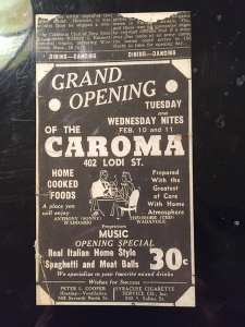 A poster in early 1940's announcing the opening of Caroma restaurant. The restaurant became a staple in Syracuse and was owned by three sisters. It closed 40 years later on Dec, 7,1981.