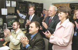 TV history: Ron Lombard, seated at right, on Nov. 7, 2003, at the launch of the 24-hour news station, News 10 Now, at the time owned by Time Warner Cable. Behind Lombard, from left, is then Syracuse Mayor Matt Driscoll, then-County Executive Nick Pirro, and Mary Cotter, who was president of Time Warner Cable in Upstate New York.