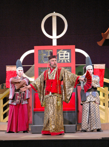 "Robert Spitzer in his costume as Josiah Bartlett (top photo) in the musical ""1776,"" presented in the summer of 2015 at Cortland Repertory Theatre. On the right he is dressed as the Mikado in ""The Mikado,"" a SUNY Cortland production from 10 years ago."