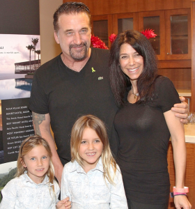 All in the family: daughters Finley and Avis with Baldwin and his fiancée Robin Hemple during a 2016 Emmys gifting suite. Photo provided.