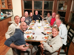 Life is good: McCabe and his family during a dinner in Block Island near Rhode Island this summer