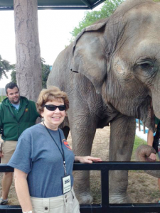 Galgano with Seth Groesbeck, a former first grade student of hers, who became a zookeeper at Rosamond Gifford Zoo.