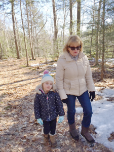 DeDe Walsh with granddaughter Breena on Otisco Lake last winter. Photo provided.