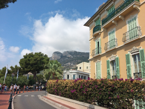 Our minivan tour winds through the colorful streets of Monaco.