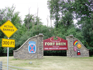 Fort Drum's Main Gate (North Gate) is located on Iraqi Freedom Drive off route 781. Visitors  can visit the museum inside.