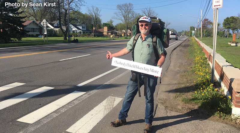 In May, Ed Griffin-Nolan packed his backpack, walked to Route 20, a couple miles from his home in Pompey, and put his thumb out. He spent three weeks to reach his destination in San Francisco. Photo by Sean Kirst.