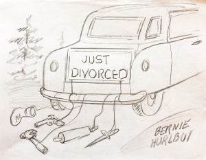 """Samples of cartoon drafts by Bernie Hurlbut. """"When he goes anyplace, he's drawing. When he watches television, he's drawing. If he could draw in his sleep, he would,"""" says wife Joan."""