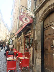 The Laurencin is a bouchon in Lyon's Old Quarter, serving traditional Lyonnaise dishes. It's where we ate silk workers' brains.