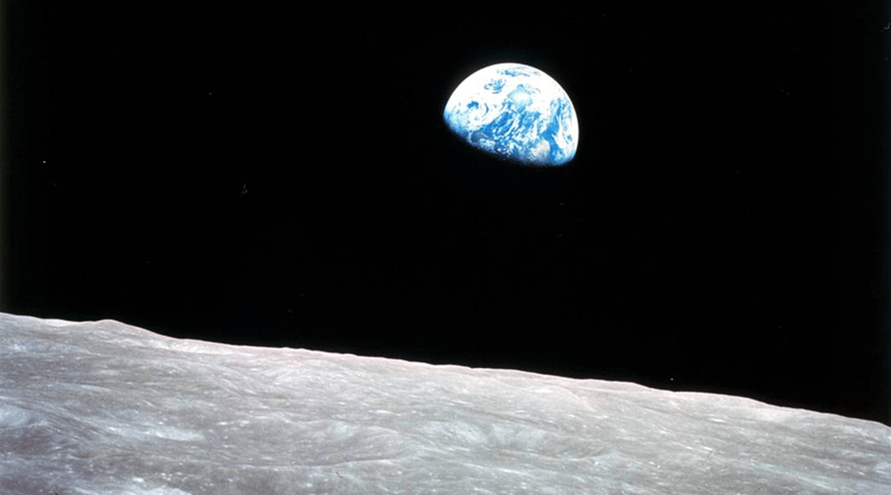 Apollo 8, the first manned mission to the moon, entered lunar orbit on Christmas Eve, Dec. 24, 1968. That evening, the astronauts Commander Frank Borman, Command Module Pilot Jim Lovell and Lunar Module Pilot William Anders, held a live broadcast from lunar orbit, in which they showed pictures of the Earth and moon as seen from their spacecraft.