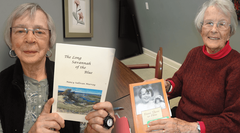 """Nancy Murray, left, 89, and her self-published book of verse, """"The Long Savannah of the Blue."""" Right, Sally Wilbur, 93, and her """"From Here to There, A Memoir. My Journey From Constantinople to Fayetteville, N.Y."""""""