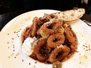 Calamari pasta fra diavolo menu entree.