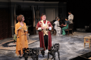 "Mark Re's love of theater started in his late 20s. He hasn't stopped acting and is now heavily involved with Cortland Repertory Theater. Photo shows his performance in Agatha Christie's ""Cards on the Table."""