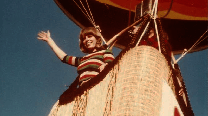 "Georgia Peach, a former teacher in Skaneateles, in 1980 landed in astronaut Will Enders' backyard in Cazenovia. ""He was thrilled that we had landed there and helped us pack up the balloon,"" Peach says."