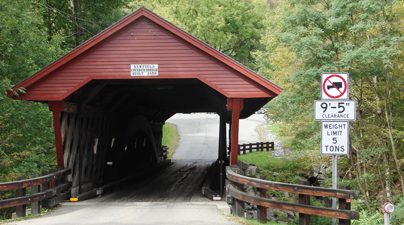 The oldest covered bridge in New York that continues to carry motor vehicle traffic. It's located in Newfield, south of Ithaca.