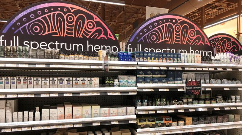 Going mainstream: Shelving at Wegmans in DeWitt featuring hemp/CBD products.