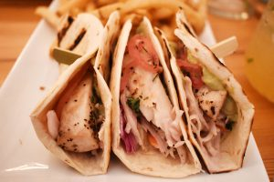 Fish tacos: Three tacos filled with nice cuts of mahi-mahi, cabbage and pickled red onions ($16).