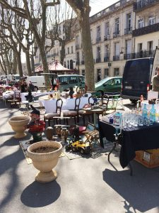 Shoppers at the brocante in Béziers can browse through furniture, china and trinkets from various eras.