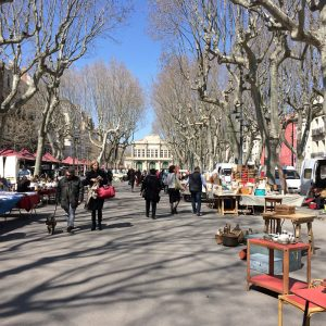 Antiques shopping at the brocante makes for a pleasant afternoon stroll on the Allées Paul Riquet