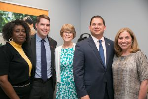 At the ribbon cutting ceremonies at the United Way's new office space earlier in 2019: from left, Helen Hudson, community services liaison for the United Way; Syracuse Mayor Ben Walsh; Nancy Eaton; County Executive Ryan McMahon; and United Way of Central New York's Board Chairwoman Ginny Biesiada O'Neill.