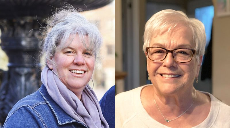 "Left: Jenn Chapman of Manlius decided to stop highlighting her hair in her mid-30s when she first started showing signs of gray hair. Right: Sharon Grady started to color her hair at age 35. Eventually, she decided against it. ""My hair is healthier and it's kind of a free feeling."""