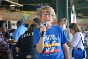 Nancy Eaton during the agency's Kickoff Cookoff in September at the NBT Bank Stadium.
