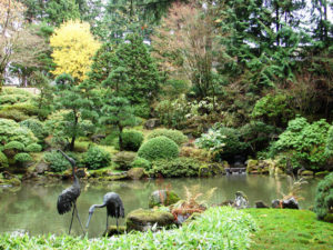 Portland's Japanese Garden showcases an example of authentic Japanese landscaping.