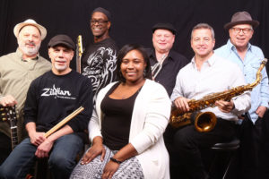 "Michael G. Davis (far right) with some former ""Coachmen"" and some new musicians in their current transformation, ""Ménage A Soul."" From left: Dickie Cappotto, Rock Carbone, James Spivey, Kia Worrell, John Saltamach and Dave Fratesci."