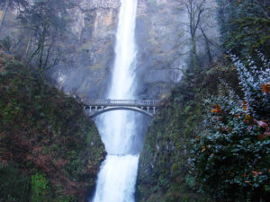 Multnomah Falls located on Multnomah Creek in the Columbia River Gorge.