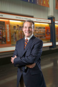 John Wildhack on the S.U. campus. Photo courtesy of Syracuse University Athletics.