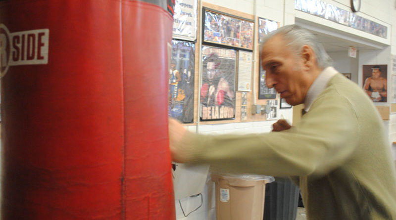 Ray Rinaldi at West Area Athletic and Education Center in Syracuse. At age 90, he still comes to the gym for about six hours daily.