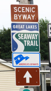 Road sign for the Great Lakes Seway Trail.