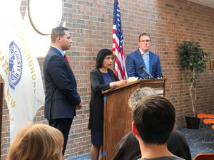 Indu Gupta speaking at the first of many COVID-19 press briefings in early March with County Executive Ryan McMahon on the left and Commissioner of Emergency Management Daniel Wears at right. Photo provided.
