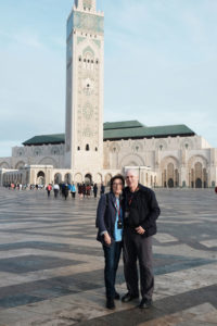 Carol Radin and her husband Lewis at the Hassan II Mosque in Casablanca. The Mosque can accommodate 25,000 for worship.