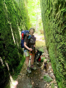 Eva Briggs and her dogs, Boomer (center) and Reilly, during her hike through the Finger Lakes trails in June. Photo was taken at an area known as Little Rock City.