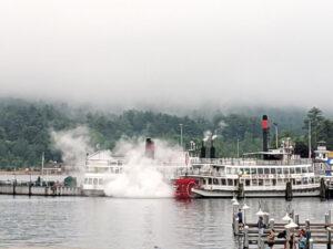 Steam paddle wheel ship,The Minne-Ha-Ha.