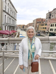 Victoria in Venice, during one of trips abroad with writer Marvin Druger.