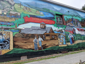 Historic mural at the Warrensburg Historical Society in Warrensburg.
