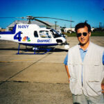 Summer of 1996. Mulcahy with WNBC Chopper 4 covers the explosion of TWA 800 off the coast of Long Island.
